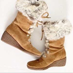 Loft Suede and Fur Wedge Winter Boots